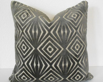 Grey velvet decorative pillow cover, cut velvet geometric throw pillow