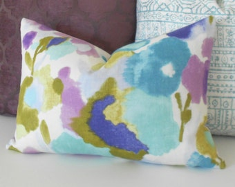 Aqua, turquoise, green and purple watercolor floral decorative pillow cover