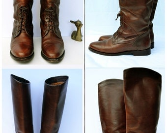 Vintage Cole Haan Leather Equestrian Riding Boots Beautiful Style cole haan riding Boots lace up equestrian distressed narrow 7.5 AA 7 1/2