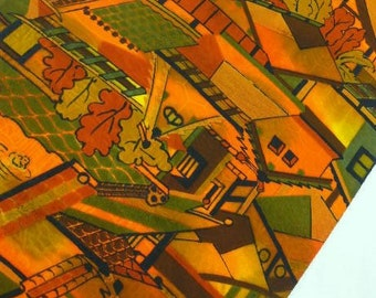 "Japanese silk kimono fabric orange roof tops houses  36"" x 14"" (92 cm x 36 cm)"
