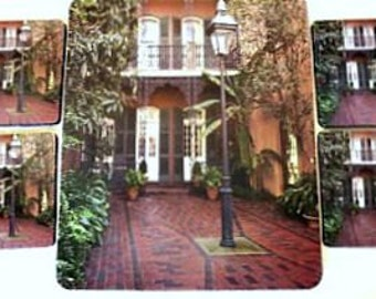 French Quarter Patio Coasters - Mouse Pad - New Orleans Trivet - Original Photo - New Orleans Photo - French Quarter Photo - New Home Gift