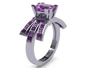 Modern Victorian 14K White Gold 1.0 Ct Emerald Cut Lilac and Lavender Amethyst Wedding Ring, Engagement Ring R344-14KWGAMLAM