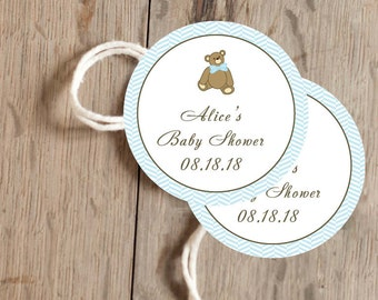 Instant Download - 12 Printable Gift, Favor Tags - Blue, Green, Pink and Yellow Teddy Bear with Herringbone
