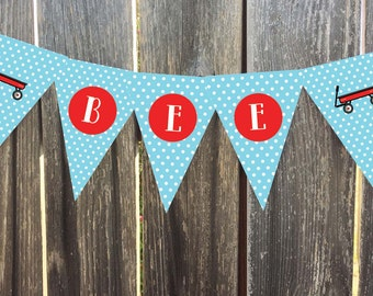 Instant Download - Printable - Red Wagon with Blue Polka Dots - Pennant, Bunting Banner