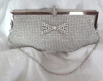 Bridal clutch - Silver- Rhinestone - BLING - Handbag - Evening bag - Rhinestone bow - Brides clutch- Prom - STUNNING - Formal Accessory -