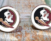 Groomsmen gifts, Florida State Seminoles inspired fan accessories, college and university Cufflinks, tie clip or gift set. Made in USA