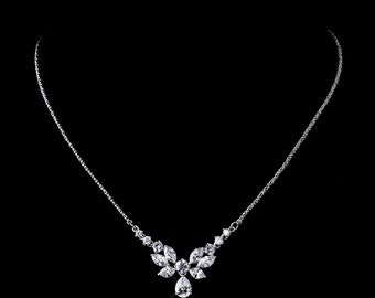 Cubic Zirconia Bridal necklace, Butterfly necklace, Wedding jewelry, Crystal necklace, CZ jewelry, bridal jewelry