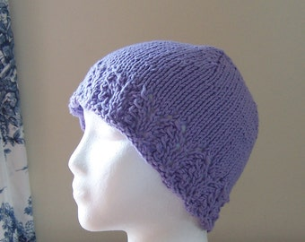 Chemo Hat Cotton Sleep Cap for Teen, Hand Knit in Lavender soft yarn with lace edge accent, ready to ship