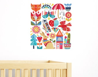Birds and Flowers Removable Wall Sticker | LSB0194CLR-ASH
