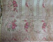 Antique French window curtain drape drapery panel, Gobelin tapestry fabric curtain w roses, wreaths, 1800s French Chateau window curtain