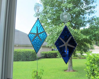 Stained Glass Cobalt Blue/Aqua Hammered Blue Authentic Starfish Diamond Shaped Panel with Twisted Wire Handcrafted Hanger