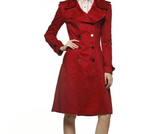 On Sale Size S Wine Red Big Lapel Pure Cotton Coat Double Breasted Military Slim Coat - Custom Made - NC478-3