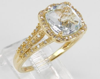 2.68 ct Diamond and Aquamarine Ring Halo Engagement Ring Aqua 14K Yellow Gold Size 7