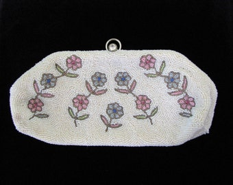 Vintage 1950s Walborg Beaded Clutch Purse with Flowers and Rhinestone