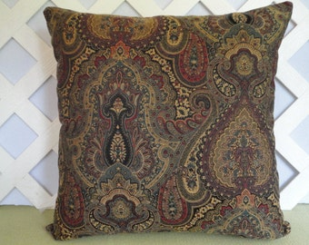 Damask Print Pillow Cover in Red Gold Teal Brown and Black / Damask Pillow / Antique Look Pillow / Accent Pillow / Decorative Pillow