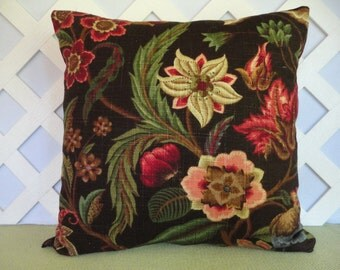 Floral Pillow Cover in Brown Cranberry Peach Green and Blue / Brown Pillow / Decorative Pillow / Accent Pillow / 18 x 18 Pillow