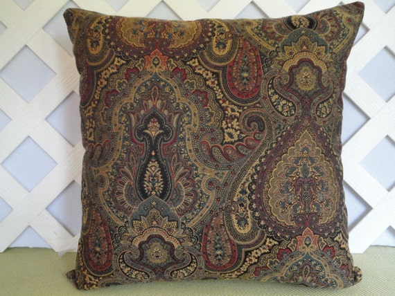 Damask Print Pillow Cover In Red Gold Teal Brown And Black