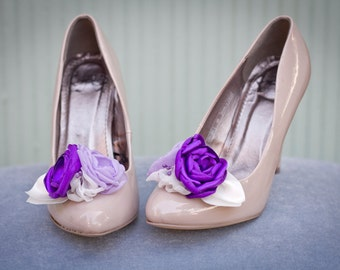 Purple and Lilac Wedding Shoe Clips, Purple, Lilac  and Ivory Bridal shoe Clips