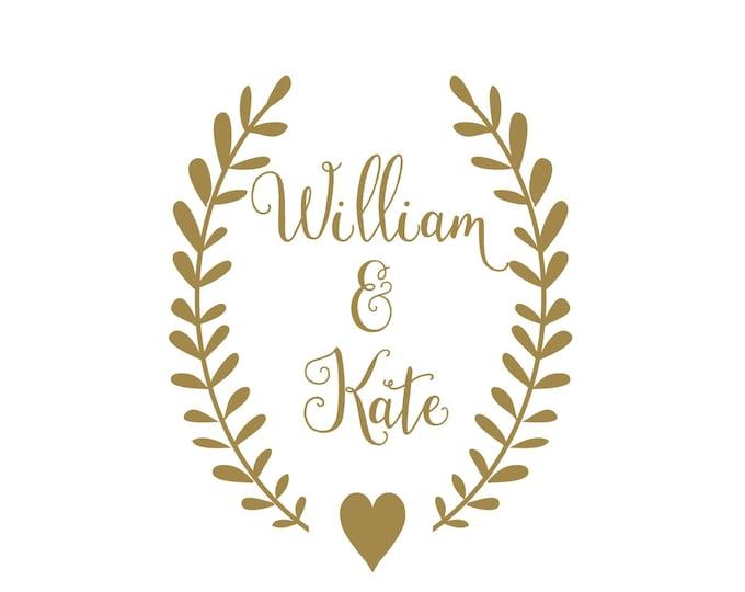 Personalized Rustic Wedding Vinyl Decal | Reception Venue Door Decal | Decal Set for Wedding Cornhole Set