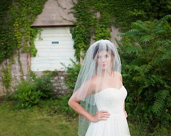 Wedding Cathedral Veil, Ivory Bridal Veil, Blusher, Tulle Veil, Long Double Layer Veil - ivory, white - Blair - VE440