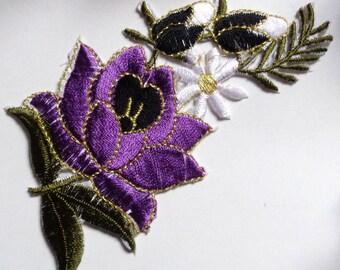 Iron On Patch Applique - Flower Spray purple