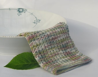 Hand knitted dish cloth - wash cloth - soft cotton olive teal mauve ivory multicolored