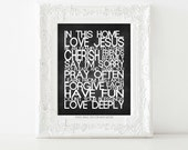 House Rules Print.  In this Home Love Jesus- Inspirational Print
