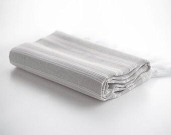 Turkish Towel for Beach, Extra Thin Peshtemal, Fouta, Pestemal - Gray