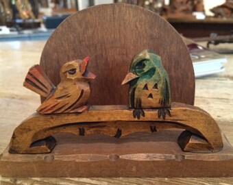 Wood carved Bird Letter Napkin Rack
