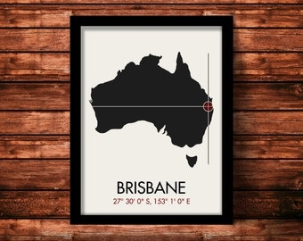 Unique Wedding Gifts Brisbane : Brisbane Map Print Brisbane Map Art Brisbane Print Brisbane Gift ...