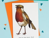 You're the Best, Dad: Robin in a Flat Cap Birds in Hats Father's Day Card