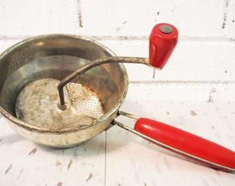 Vintage food processor mill ricer red vintage kitchen baby food grinder