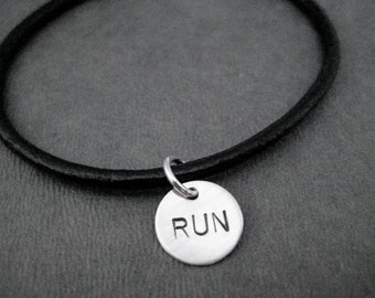 RUN Bracelet - Sterling Silver Charm on Leather with Sterling Silver Plated Clasp - Choose Size - Running Bracelet - Leather Runner Bracelet