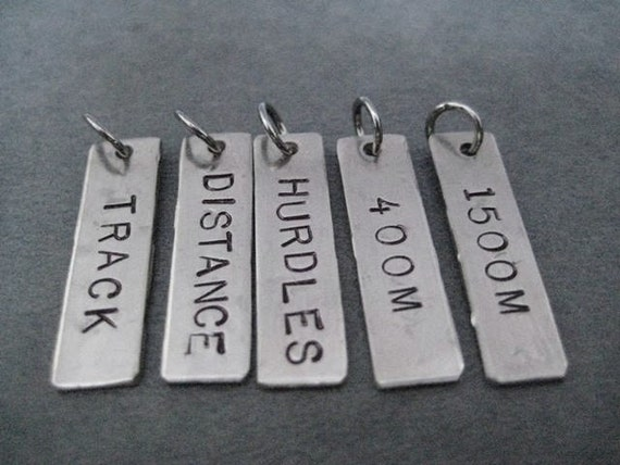 ONE (1) Track DISTANCE or EVENT Pendant Only - 100 m - 10,000 m or Sprints, Relay, Hurdles, Distance, Steeple, Jumps, Throws, Pole Vault
