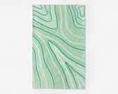 Marbled Tea Towel - Green Kitchen Towel - Linen Cotton Dish Towel - Housewarming Gift - Host or Hostess Gift