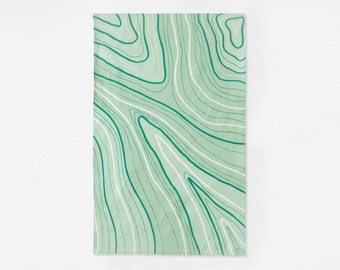 Marbled Tea Towel - Green Kitchen Towel - Linen Cotton Dish Towel - Housewarming Gift - Host or Hostess Gift