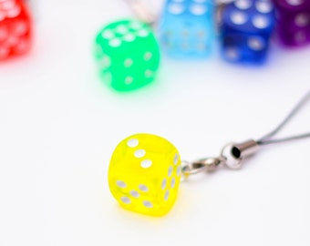 D6 phone charm - yellow, dnd, dice, tabletop, board games, geeky charm, nerdy phone charm