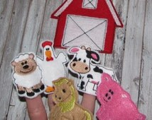 Farm finger puppets and case embroidery design digital instant download
