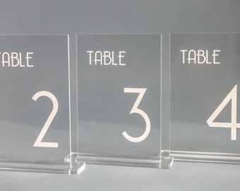 Table Numbers - Engraved Acrylic for Receptions and Parties