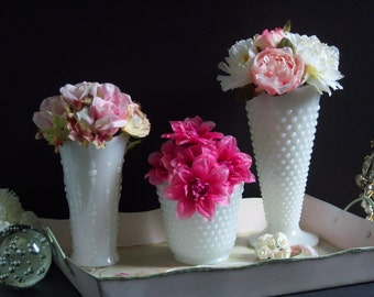 Reserved - White Milk Glass Vases - Wedding Vases - Hobnail Milk Glass Vase - Hobnail Vase - Milk Glass Vases - Wedding Centerpiece