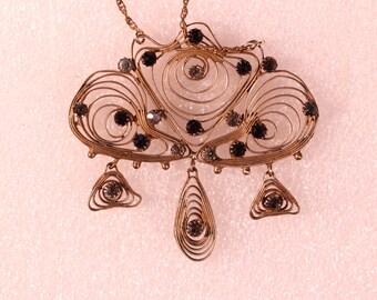 Antique Pendant Necklace Gilt Pendant Rhinestones Pendant French EdwardianJewelry