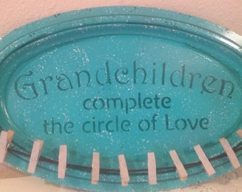 Grandchildren Photo Holder..Mom Gift..Mother's Day Gift Upcycled Metal Tray Cottage Chic...Grandmother Picture Holder.. Holiday Gift