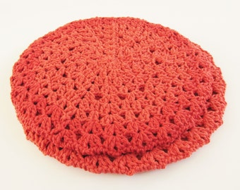 Crochet Round Orange Hot Pads Set of 2 Reversible Pot Holders