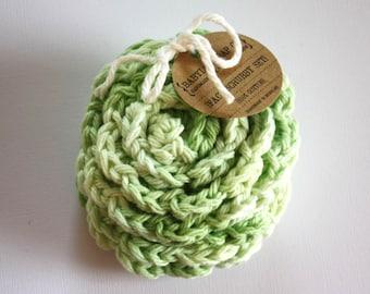 SHOP CLOSING SALE . Flower Face Scrubby Set . Set of 3 . Crochet . 100 Percent Cotton . Pastel Green