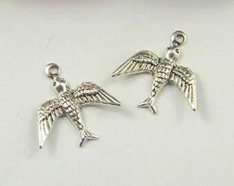 Antiqued Silver Bird Charm, Bird Stamping, Brass Stamping 16mm x 18mm - 6 pcs. (sl185)