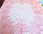 Beautiful Soft Salmon Woven Coverlet - Mid Century Pink Salmon Lap Blanket