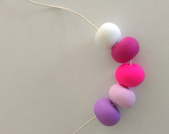 Polymer Bead Necklace - Pink