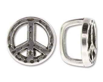 Antique Silver plated Peace Spacer sliders