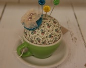 green tea cup pin cushion