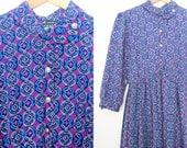 Vintage printed dress, aztec print dress, full sleeve dress, vintage purple and blue dress